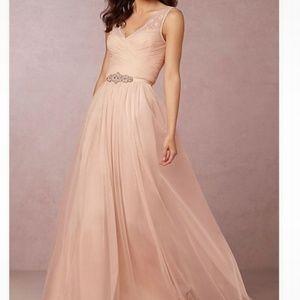 BHLDN Anthropologie Hitherto Fleur Blush Pink Gown